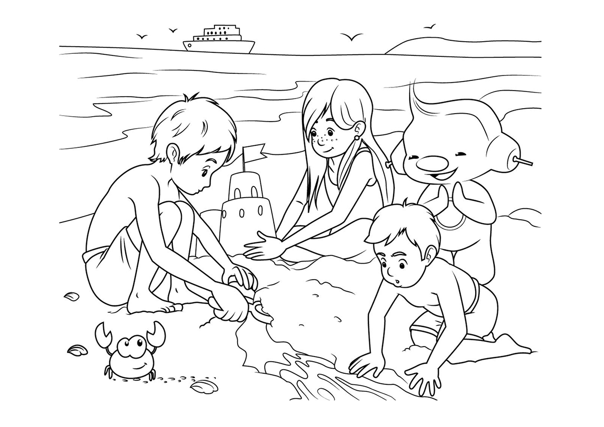 Раскраска с кораблями на море
