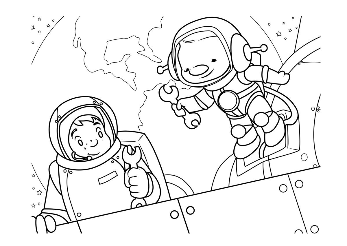 Раскраска космос - Раскраски - Развитие ребенка с IQsha.ru